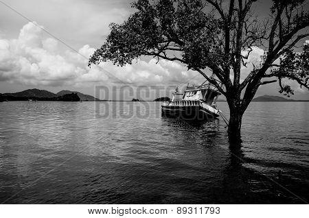 A Shipwreck At The Beach On The Island Koh Lanta