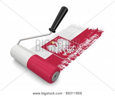 Paint roller with Polish flag (clipping path included)
