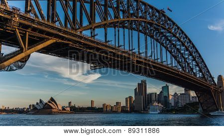 SYDNEY, AUSTRALIA April 02, 2014: Sydney's opera house and skyline seen from the harbour bridge