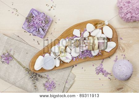 Lavender spa set on linen