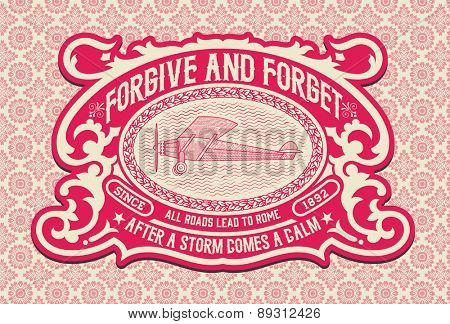 Vintage label with floral details. Elements organized by layers.