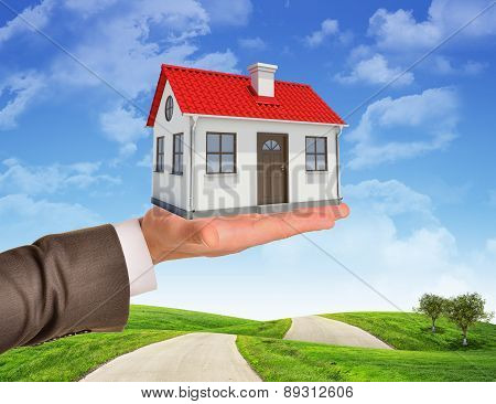 House in businessmans hand on nature background