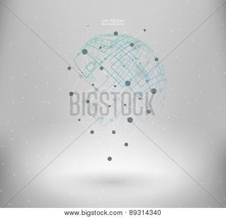 Wireframe mesh polygonal element. Abstract form with connected lines and dots. infographic elements.  Vector science Polygonal background. Futuristic HUD background.