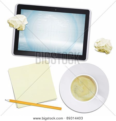Tablet and coffee with crumpled paper, top view