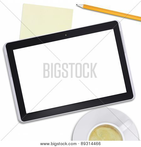 Black tablet and coffee cup with pencil, top view