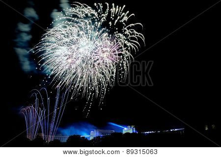 beautiful fireworks during the night of national day paris france