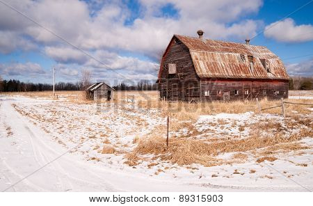 Farm Field Forgotten Barn Decaying Agricultural Structure Ranch Building