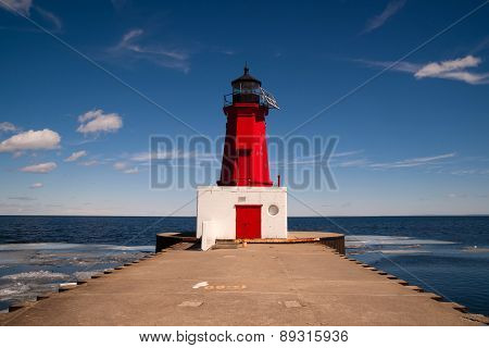 Menominee Harbor North Pier Lighthouse Green Bay Wisconsin Lake Michigan