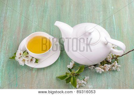 White Tea, White Cup, Saucer White, Apple Blossom, Cherry Blossom, Mint,