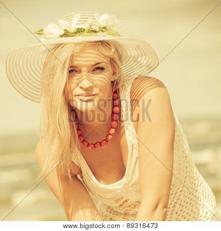 Beautiful Blonde Girl In Hat Portrait