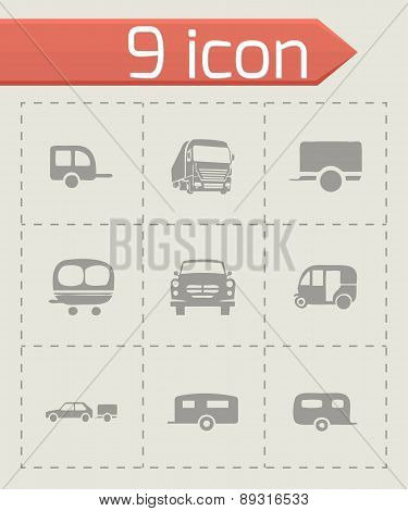 Vector trailer icon set
