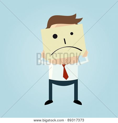 cartoon businessman hiding his face behind a sad face doodle