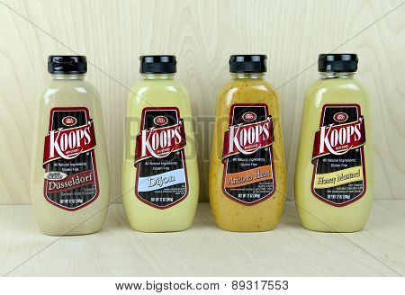 Variety Of Koop's Mustard Bottles.