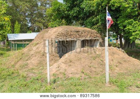 Bunker public from a war between Thailand and Cambodia