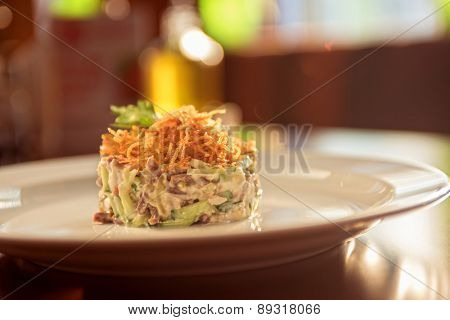 Salad with meat vegetable and mayonnaise