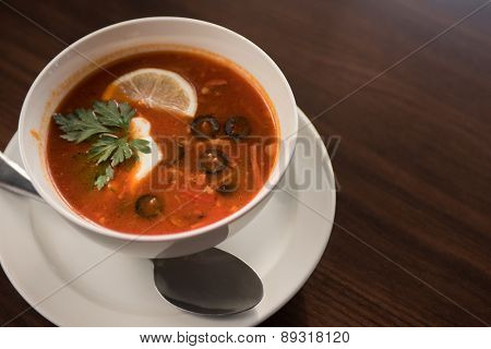 Traditional russian soljanka or saltwort soup