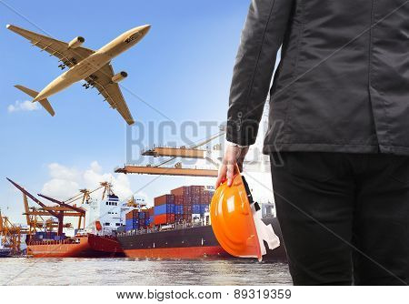 Working Man And Commercial Ship On Port And Air Cargo Plane Flying Above Use For Water And Air Trans