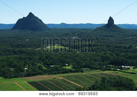 Glass House Mountains National park in Australia.