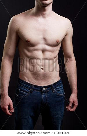 Abdomen Of Man With Muscular Sexy Body