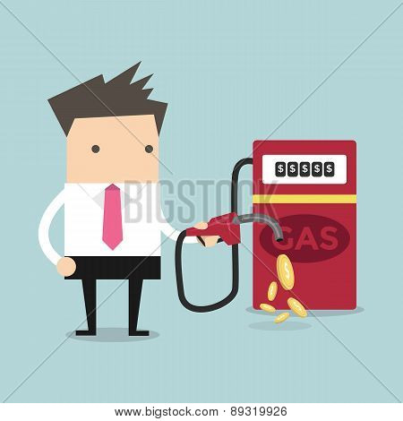 Businessman and gas station