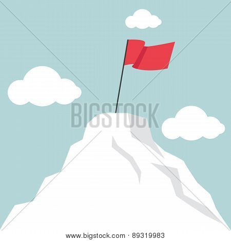 Flag marks the top of the mountain landscape