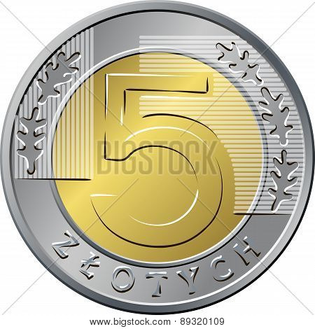 reverse Polish Money five zloty coin