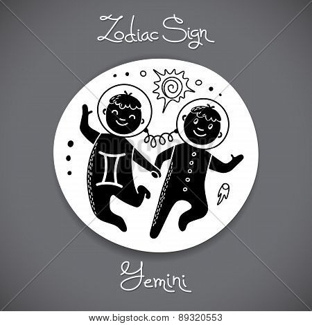 Gemini zodiac sign of horoscope circle emblem in cartoon style.