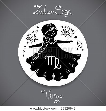 Virgo zodiac sign of horoscope circle emblem in cartoon style.