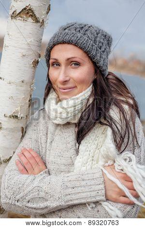 colder times female portait outdoors