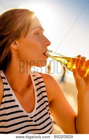 summertime drink blurred background outdoors