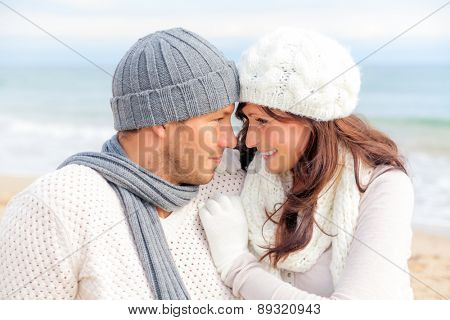 teasing warming each other outdoor portrait