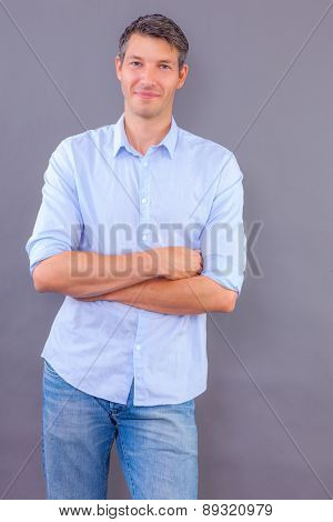 man standing smiling free copy space