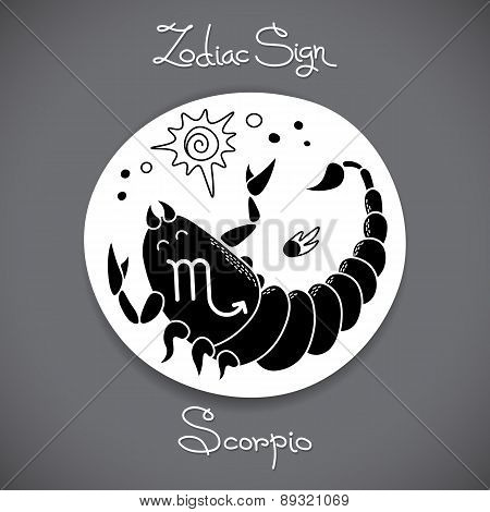 Scorpio zodiac sign of horoscope circle emblem in cartoon style.