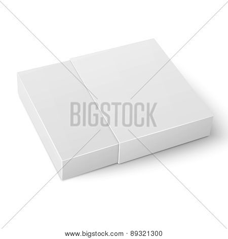 White sliding cardboard box template.