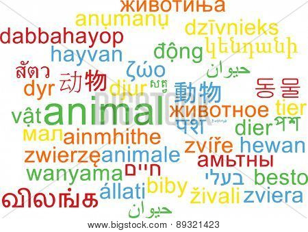 Background concept wordcloud multilanguage international many language illustration of animal