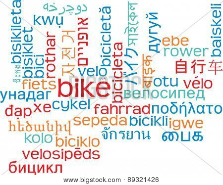 Background concept wordcloud multilanguage international many language illustration of bike