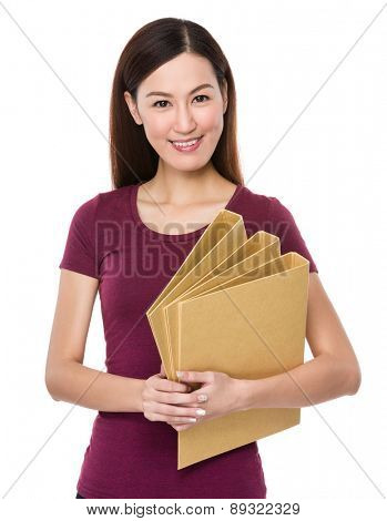 Young woman hold with paper folder