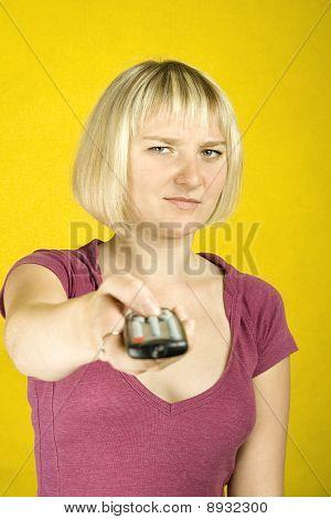 Woman & remote control