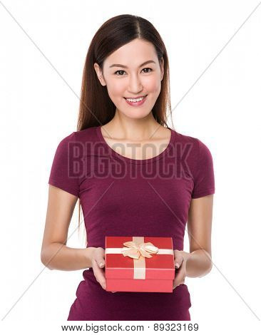 Asian woman show with giftbox