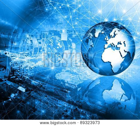 Abstract blue background. Technology background, from series best concept of global business. Elements of this image furnished by NASA.