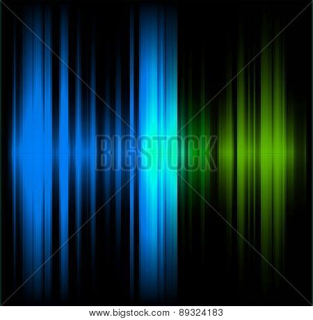 Blue and green abstract wave dark background