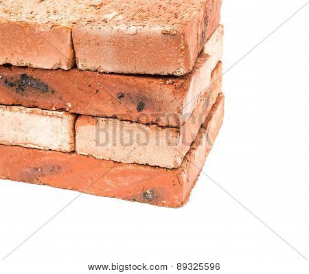 Bricks Stack Up On A White Background