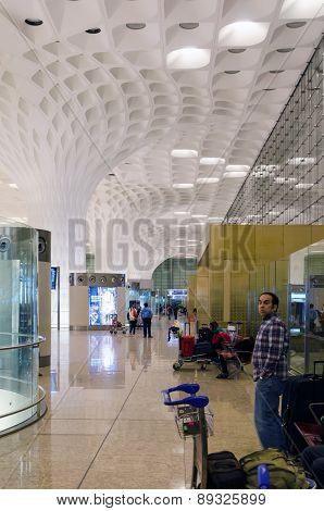 Mumbai, India - January 5, 2015: Crowd At Chhatrapati Shivaji International Airport.