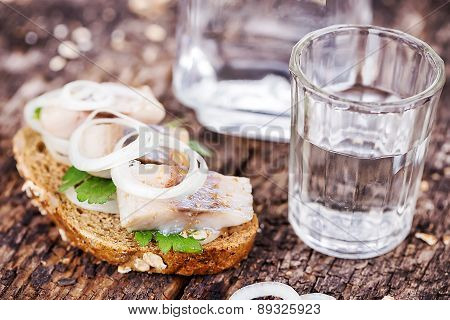 Black Bread With Herring And Vodka
