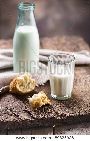 Bottle And Glass Of Milk With Slices Of Bread