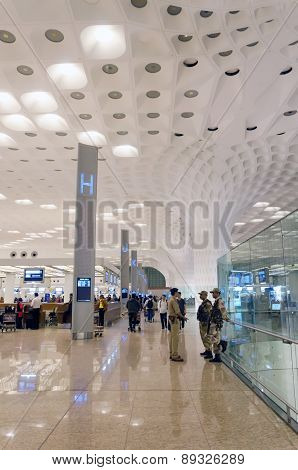 Mumbai, India - January 5, 2015: Crowd At Chhatrapati Shivaji International Airport