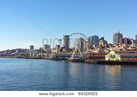 A view on Seattle downtown from the waters of Puget Sound.