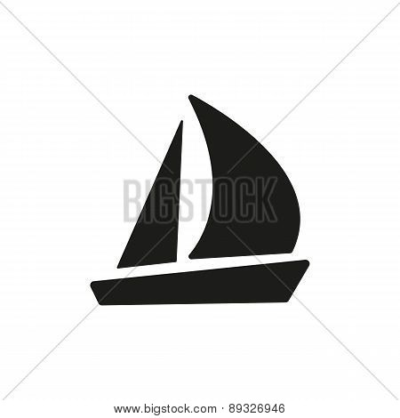 The Sailboat Icon. Sailing Ship Symbol. Flat