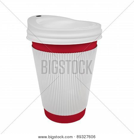 Red Take Away coffee cup with sleeve-isolated