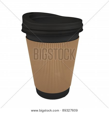 Take Away coffee cup with brown sleeve isolated